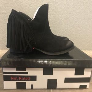 Black 'Not Rated' Fringe BRAXTON Booties, Size 8